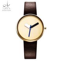 2021 Shengke Top Brand Brand Donne di lusso Semplice orologio da polso in pelle marrone orologio da donna stile Cause Style Design moda orologi femmina