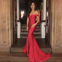 2019 Nuevo Red Off The Shoulder Mermaid Prom Dress Sweep Train Zipper Vestido de noche formal personalizado