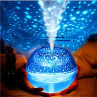 Nueva proyección de cristal de la lámpara LED de luz de la noche del humidificador del color colorido del proyector del hogar Mini máquina humidificadores aromaterapia