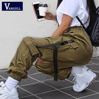 Vangull Women Buckle Belt Ribbon Pocket Loose Jogger Pant High Waist Street wear Punk Harajuku Hip Hop Sweatpant Cargo Trousers