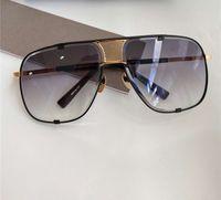 Gafas de sol cuadradas 2.087 Oro Negro Gris Degradado lente 64mm Gafas de Sol Gafas de Sol Gafas de sol de gran tamaño con la caja
