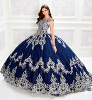 2020 Navy Floral Quinceanera Dresses Embroidery Scoop Neck B...