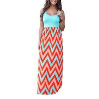 المرأة شاطئ الصيف بوهو ماكسي اللباس جودة عالية العلامة التجارية مخطط طباعة فساتين طويلة المؤنث زائد الحجم S-XXL ملابس النساء