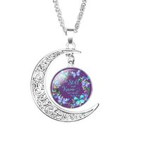 Библейские Стихи кулон ожерелье для женщин стекол кабошона Луны Писание Письма Цветка печать Заявление ожерелья Faith ювелирные изделия