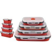 Продвижение Силиконовые Складной Бенто Box Складной Портативный Lunch Box для Еды Посуда Пищевой Контейнер Пищевая Чаша Для Детей