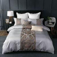 4 шт. Серая белая кровать листа наволочка одеяла набор набор роскоши 60s египетская хлопчатобумажная король король двойной размер постельное белье постельное белье