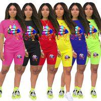 ZOOEFFBB Plus Size Zweiteiler Frauen-Sommer-Trainingsanzug Lounge Wear Outfits Short Sleeve Lippendruck-Top + Biker Shorts Sweat Suits
