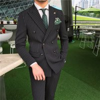 New Arrival Double- breasted Black Striped Costume Homme Men&...