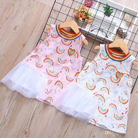 Hot Summer Babies Love Rainbow Gonne Dress Printing Girocollo Abiti da esterno Ragazze Cartoon Fashion Home Abbigliamento 38dh E1