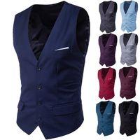 Business Hommes Casual Slim Gilets Fashion Hommes Color Simple Boutons Simple Vests Fit Homme Costume pour printemps Automne Groom Gilet gilet gilet