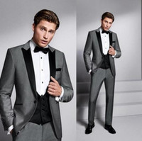 Grey And Black Mens Suits Slim Fit Tuxedo wedding piece coat...