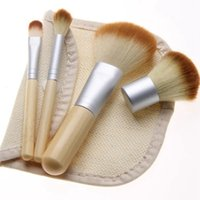 4Pcs Bamboo Brush Wooden Makeup Brushes Cosmetic Face Powder...