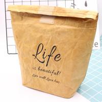Reutilizable plegable a prueba de fugas de papel Kraft Food almuerzo bolsa contenedor portátil de gran capacidad térmica refrigerador aislado