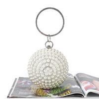 Großhandel Einzelhandel handgemachte Perle Kugelform Kristall Abendtasche Clutch Handtasche mit Satin / PU für Hochzeitsmahl Party prom (weitere Farben)