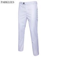 Pantalon Hommes Blanc Slim Slim Robe droite Hommes 2021 Pantalon d'affaires formel Mâle Far Tarif Costum