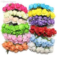 All'ingrosso-Vendita !!! Multicolor carta di gelso Fiore Bouquet testa 1-1.5CM / gambo del legare / Scrapbooking artificiali fiori di rosa (144pcs / lot)
