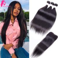 Sunny Beauty gerade menschliches Haar flicht peruanisches Glattes Haar Bündel mit Verschluss 3 Bundles Großhandel Haare Tressen mit Spitze Closure 30 32 40