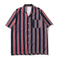 Icono oscuro Rayas Bolsillo delantero Camisas vintage Hombres Retro Street Camisas hombre 2019 Summer Beach Camisas Hombre