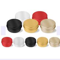 10ml de rangement en métal aluminium Tins Jars contenants ronds boîte de conserve vide Jars Vis Top Tin Cans Whit or noir