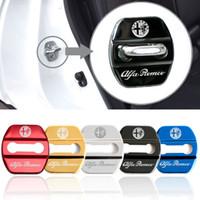 4 adet Oto Dekorasyon Kapı Kilidi Kapak Araba Styling için Alfa Romeo Giulietta 159 Stelvio 147 Sticker Amblemler Aksesua ...
