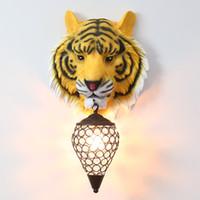 Creative résine mur lampe de tête de tigre Hanging Wall Light For Home Living Room Bar décoratif Applique Vanity industriel Accueil Salle de bain Lumières