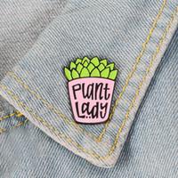Planta Potted Plant Lady Personalidad Esmalte Creativo Broche Dibujos Animados Especial Marea New Lapel Denim Insignia Pines