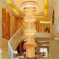Moderno pendente Nordic lampada moderna europea D600mm H2000mm S oro grande lusso lampadario di cristallo K9Crystal Per Lobby Doppia lampada da terra