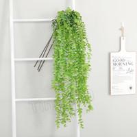 Fleur artificielle vigne Faux Silk Silver Dollar Eucalyptus Hanging Garland Verdure Plantons pour mariage décoratif FlowersT2I5618