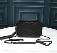 Mode Luxuxentwerfer Frauen-Handtaschen Rindkettenkameratasche echtes Leder-Beutel-Qualitäts-Schulter-Beutel-Geldbeutel-Einkaufstasche 18cm