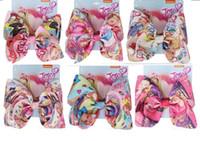 """8 unids / lote venta caliente 8 """"cinta de impresión jojo swia arcos pinza de pelo arcos de pelo horquilla de cocodrilo bowknot horquillas horquillas accesorios para el cabello"""