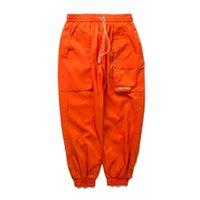 FAVOCENT 2020 para hombre otoño bolsillos laterales pantalones harén de Carga Hip Hop Moda Casual Male Joggers Streetwear pantalones negros Orange