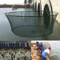 25 de alta calidad de compensación plegable grandes redes de pesca red de nylon de aterrizaje duraderos gambas cangrejo cebo de pescado camarones netos trampa de pesca