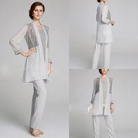 Artı Boyutu Anne Gelin Pantolon Suit 3 Parça Şifon Plaj Gelinlik için Annenin Elbise Uzun Kollu Şifon Gümüş Abiye giyim