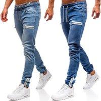 3 Styles Hommes Stretchy Ripped Skinny Jeans Biker biack Poche zippée Taped Slim Fit Denim Rayé de haute qualité Jean