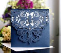 2019 carte di matrimonio blu navy carte con scava fuori rustico nero taglio laser taglio carta invito fiorisce elegante partito inviti