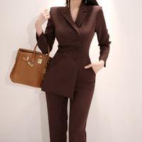 Neue Runway Korea Frauen Unregelmäßigen Overall Zweireiher Blazer Jacke Slim Bleistift Hosen Weibliche Business Overall 1759