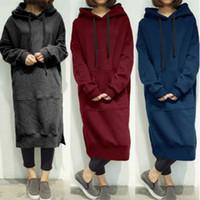 Sudadera con capucha larga floja ocasional de las mujeres Sudadera prendas de vestir exteriores Abrigo túnica vestido