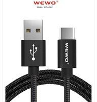 WEWO Örgülü 1.2M Hızlı Perakende kutu ile Kablo 2.4A mikro USB Data'nın senkronizasyon Transferi Mikro USB Tip C Şarj