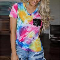T-shirt décontracté femmes d'été Tie-Dye Imprimer pailletée poche col en V à manches courtes T-shirts Streetwear en vrac Tops Femme