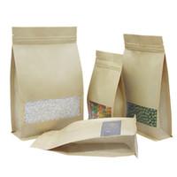 50 pcs 6 tailles de huit bord debout kraft papier kraft serrure sac de paquet de paquet recyclable anti-humidité fermeture à glissière de stockage des aliments Sacs d'emballage de bonbons