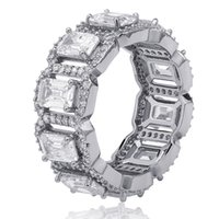 Hiphop oro 18 carati Anelli zirconi Mens Iced Out Hip Hop anello monili di marca del progettista placcato oro