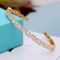 Блестящий кристалл кубический циркон манжеты браслет платиновые браслеты женские девушки подарок брака вовлеченные партии ювелирные изделия