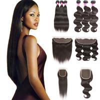 Pastelli crudi dei capelli umani vergini indiani con chiusura 10a estensioni dritte non trasformate Teaves dei capelli dell'onda del corpo con il venditore di ordini frontali