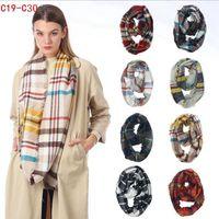 Plaid-Ring-Schal 12 Farben Unendlichkeits-Schal-Verpackungs-Schleifen-Schal, der Multifunktionskopfschal-Frauen-Halstuch LJJO7150 strickt