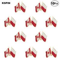 Canada Polonia risvolto della bandierina Pin Bandiera distintivo Pin Spilla Badge 10pz un lotto