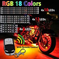 Motocicleta de luz LED RGB Kit Multi-Color Accent resplandor de neón Tiras con mando a distancia para la bici del motor de Harley