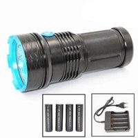 Hot 12 * 10W T6 LED UV lampe de poche 395nm Ultra Violet en aluminium torche avec 2200mAh Chargeur de batterie