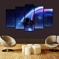 (Solo Canvas No Frame) 5Pcs Kimi No Nawa Cartoon Sweety Couple Wall Art HD stampa su tela pittura moda appendere le immagini