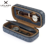 LELADY 2 Grids Box for Watches High Quality PU Leather Stora...