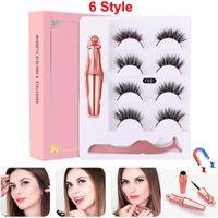 4 pares Cílios magnéticos cílios falsos Líquido Eyeliner + pinça maquiagem dos olhos conjunto ímã 3D Cílios postiços reutilizáveis Não cola necessária 2020 NOVO
